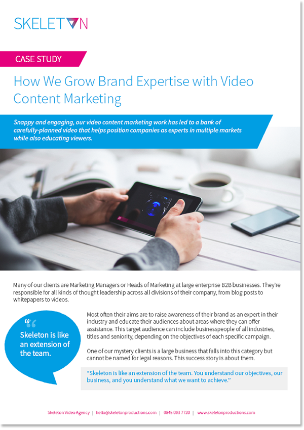 Skeleton Video Content Marketing Case Study PDF