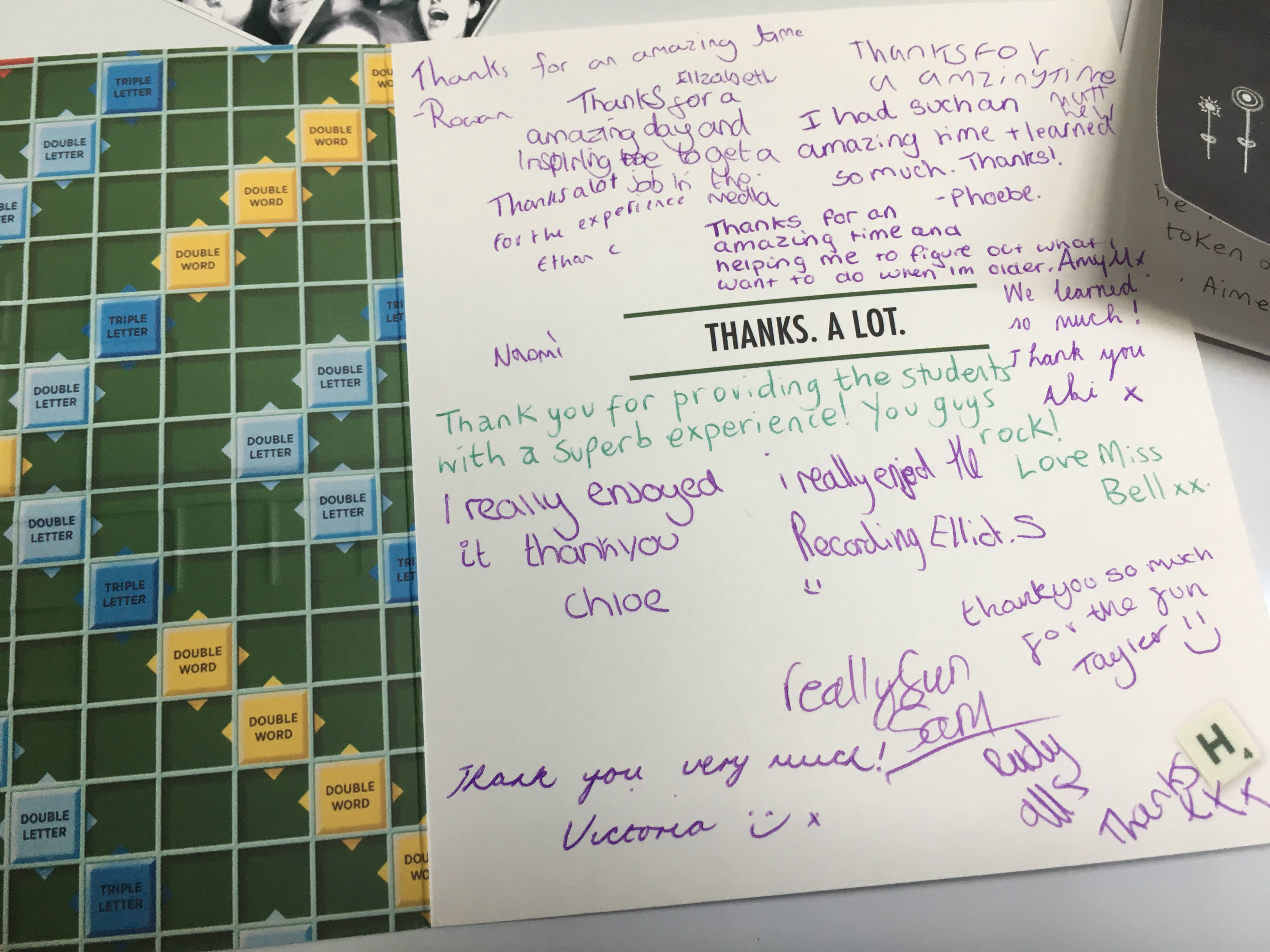 Our thank you card from the Toot Hill media studies class.