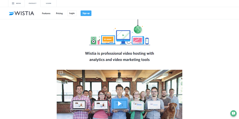 A product page from Wistia.