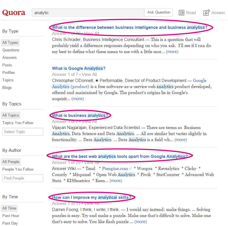 A screenshot of Quora search results.