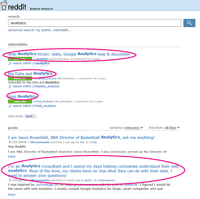 Reddit搜索结果的屏幕截图。