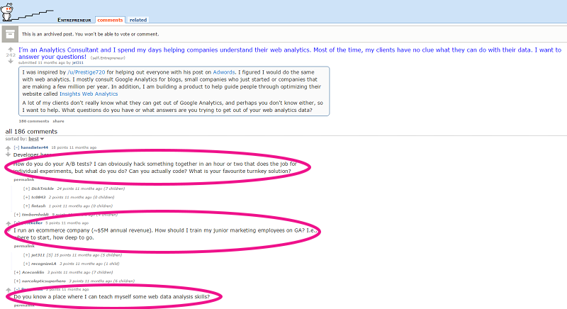 A screenshot of a Reddit thread.