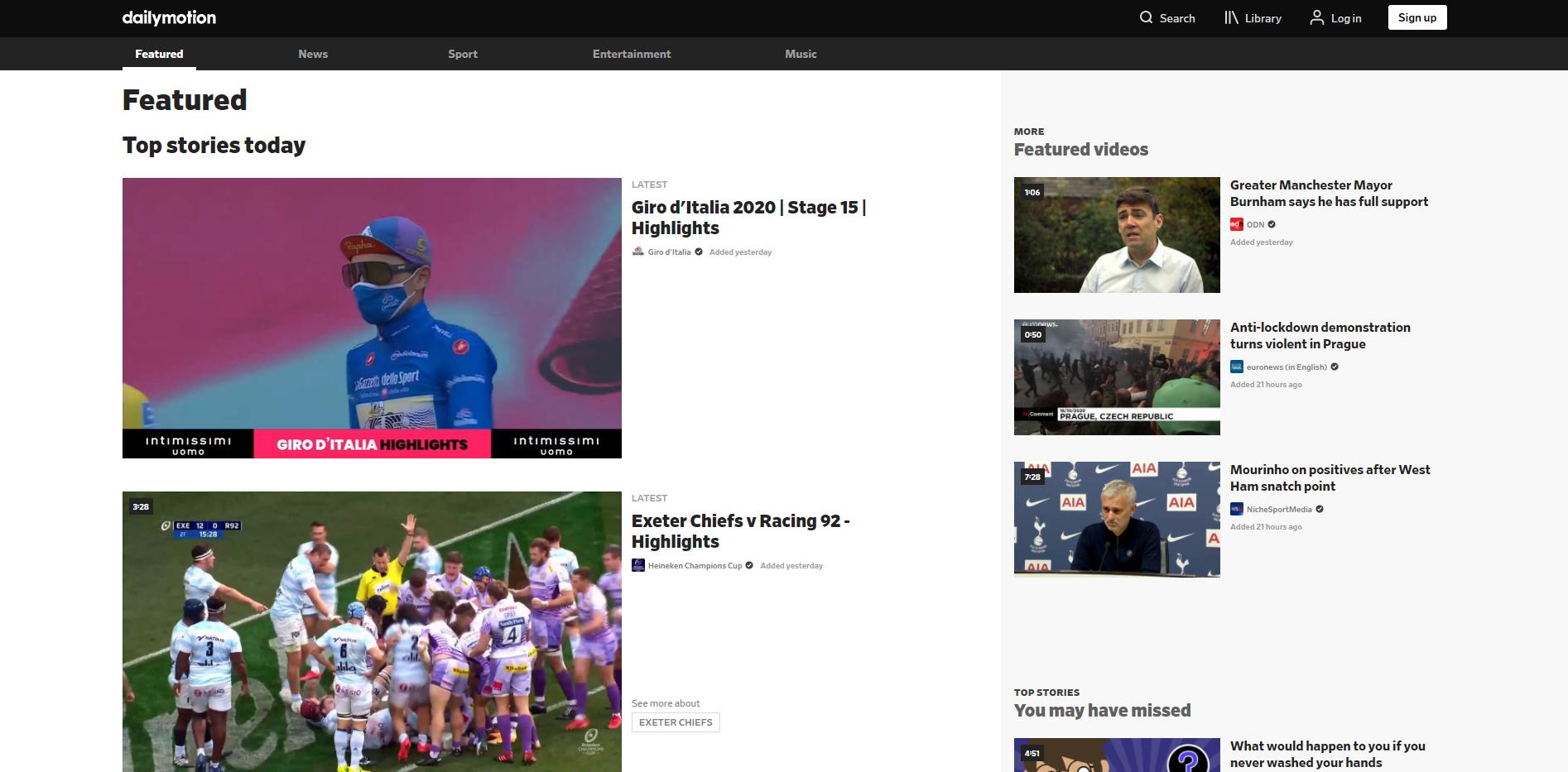 Dailymotion header