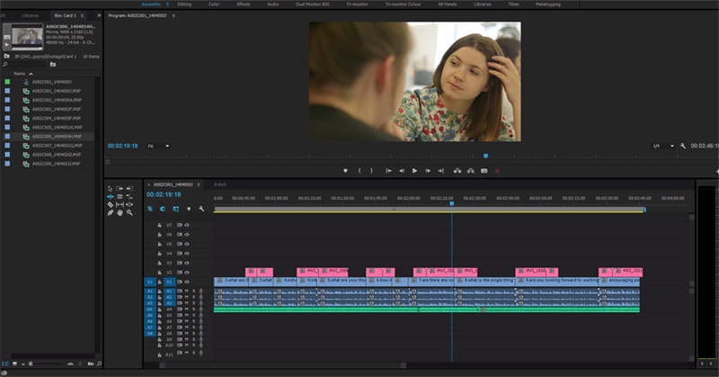 Tilly's work editing one of our video projects.