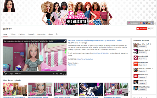 Barbie YouTube channel